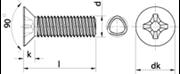 Vite autoformante (trilobata) Testa Svasata Piana Impronta Croce Zincato Bianco